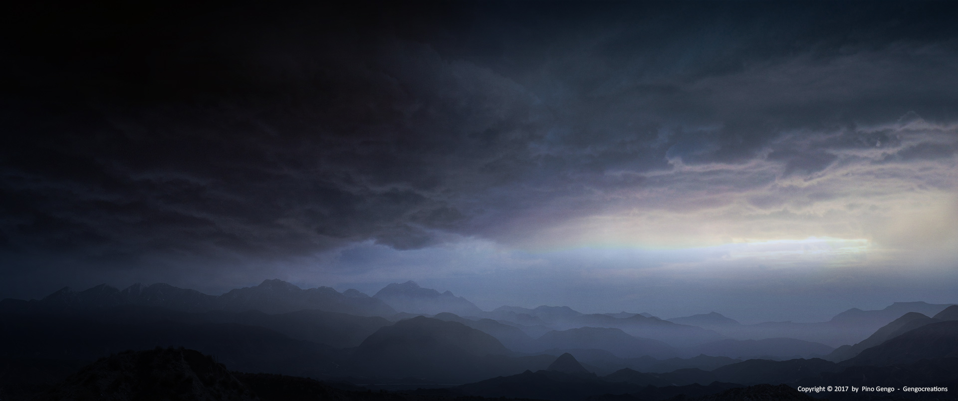 Pino Gengo: Stormy Landscape - Matte Painting