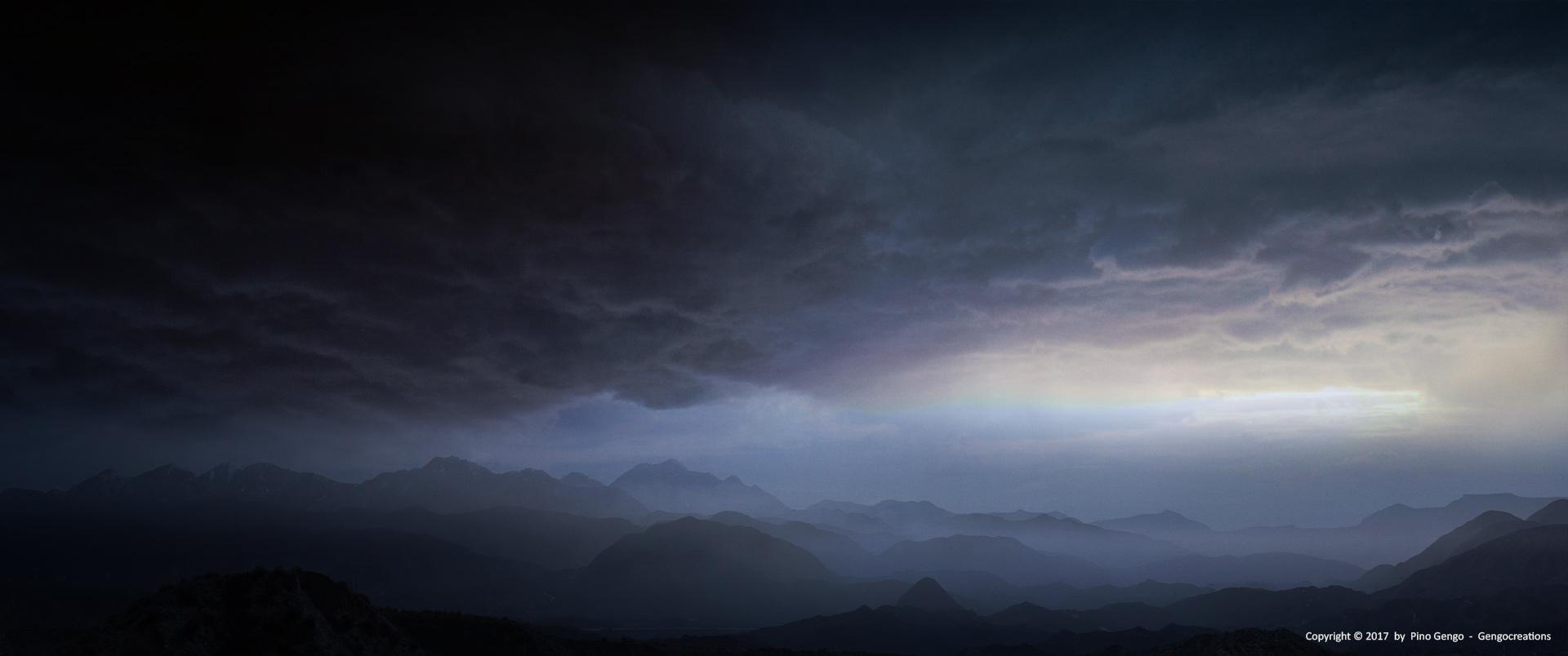 Pino Gengo: Stormy Landscape - Matte Painting